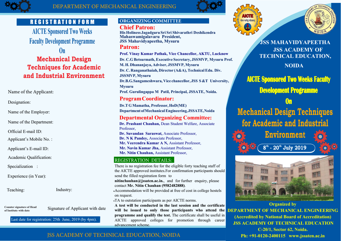 Two Weeks Faculty Development Programme on Mechanical Design